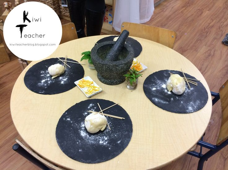 A play dough provocation with lemon and orange rind as well as a variety of asian herbs-Kiwi Teacher