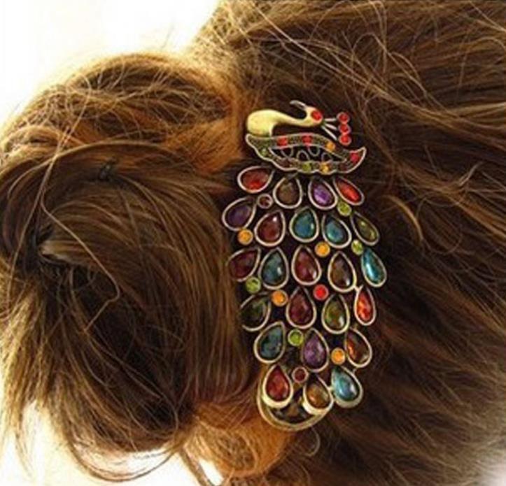 Pas cher 1 Pcs nouvelles dames de la mode Vintage coloré strass paon Barrette épingle cheveux Clip, Acheter  Outil de coiffure de qualité directement des fournisseurs de Chine:                 Vintage femmes coloré strass paon Barrette épingle à cheveux pince à nouveau