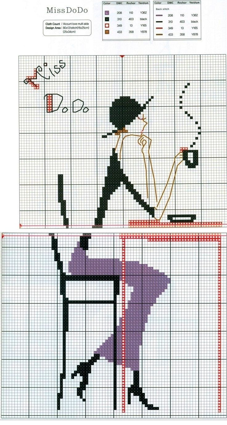 0 point de croix fille buvant café - cross stitch girl drinking coffee miss dodo