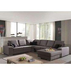 Canapé d'angle 100% polyester coloris brun clair