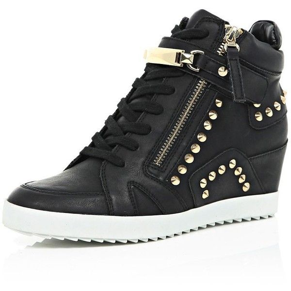 River Island Black studded wedge high top sneakers ($110) ❤ liked on Polyvore featuring shoes, sneakers, black, plimsolls / sneakers, shoes / boots, women, black wedge shoes, wedges shoes, studded high-top sneakers and black sneakers