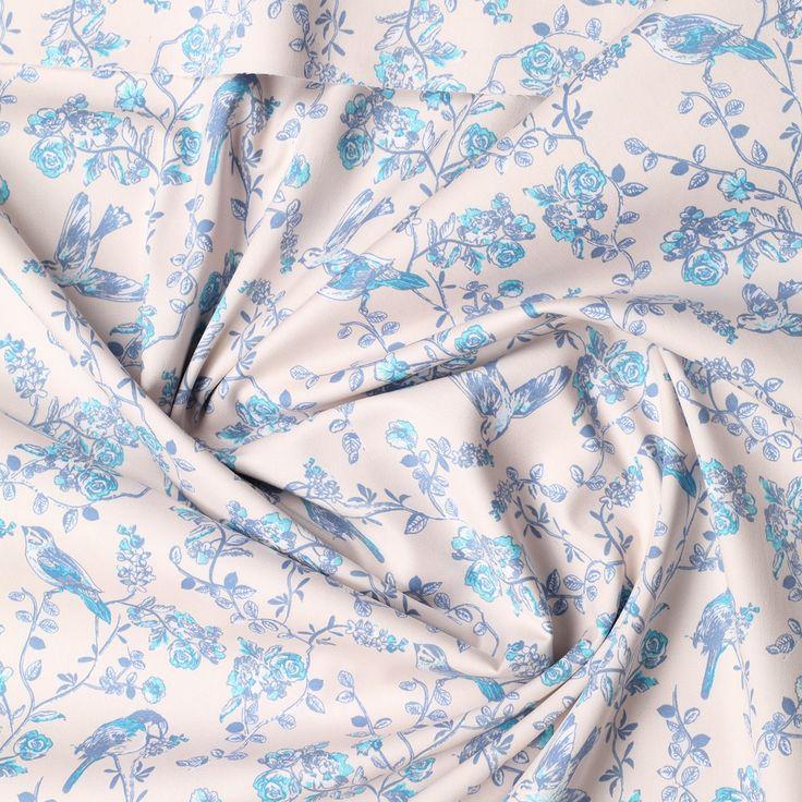 beige stretch satijn katoen met blauw pastel bloem dessin milliblus