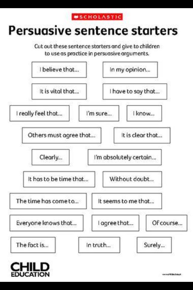 sentence starters for argumentative essays