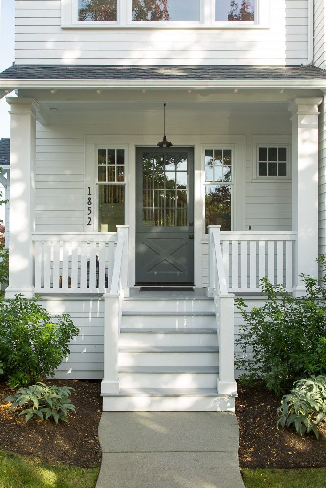 Nice front porch with grey door. : door porch - Pezcame.Com