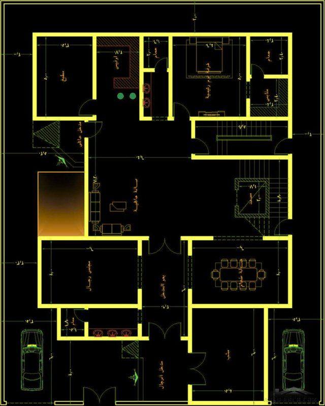 خريطة فيلا و شقة مسروقة ايعاد الارض 25 20 متر مت اعمال مكتب الراجحي الهندسي Villa Plan Flat Plan Architecture