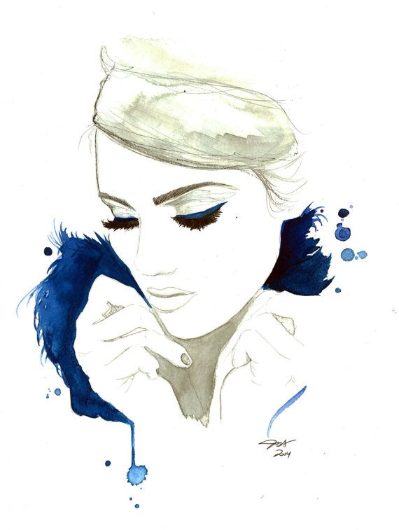 Blue For You print from original watercolor by JessicaIllustration, $25.00 #watercolor #fashionillustration #jessicadurrant