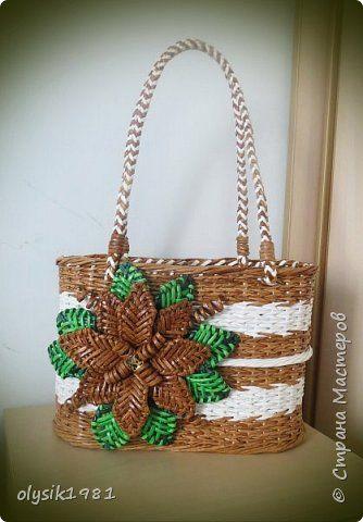 Поделка изделие Плетение Пляжная корзинка из бумажных трубочек Бумага фото 6