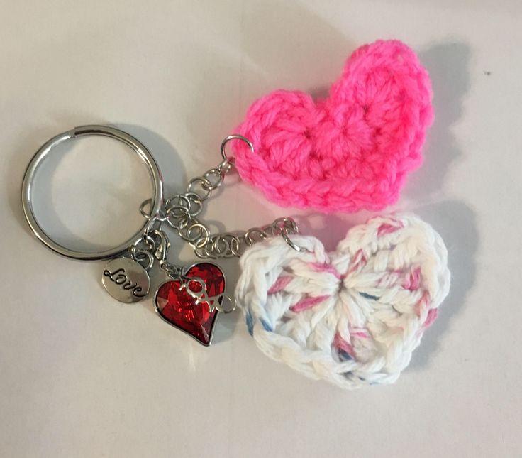 Latest addition to my #etsy shop: Swarovski Crochet Heart keychain, zipper pull, purse charm #accessories #keychain #xoxokeychain #swarovskicrystals #swarovskiheart #swarovski #heartkeychain