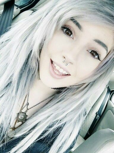 Grey platinum white hair - Leda monster bunny #septum
