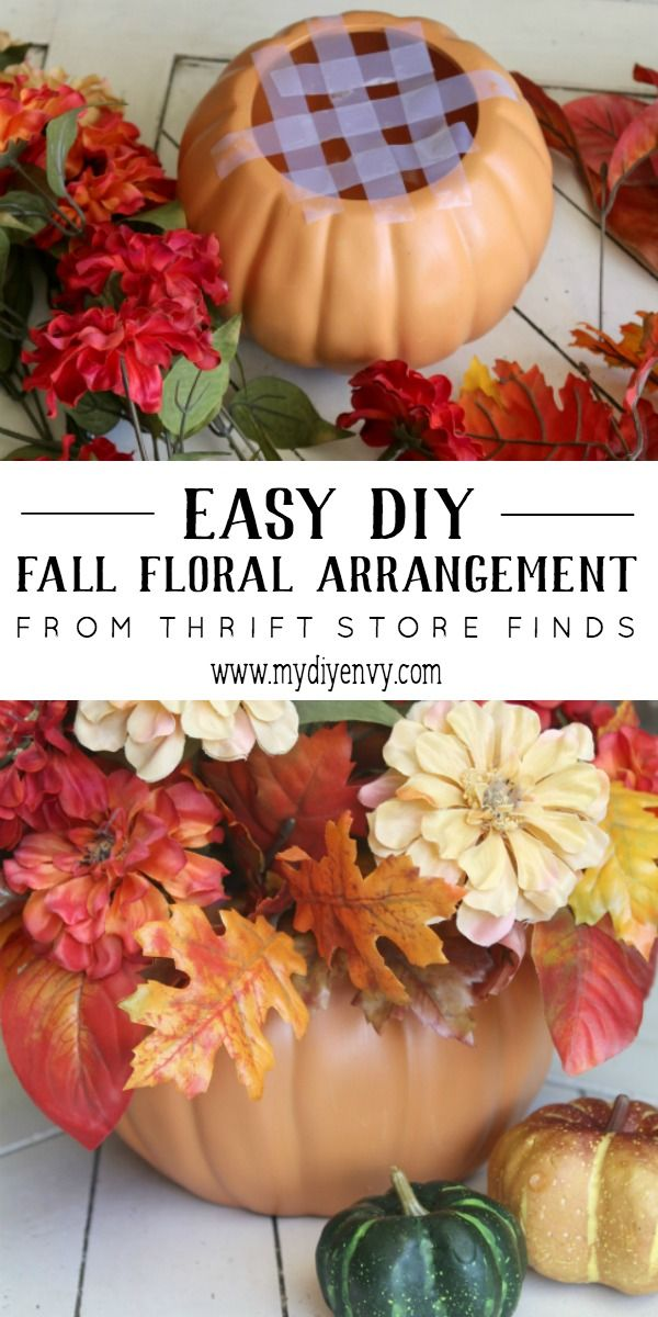 Step by step instructions to create this fall floral arrangement. It's an inexpensive addition to your favorite fall decor! www.mydiyenvy.com