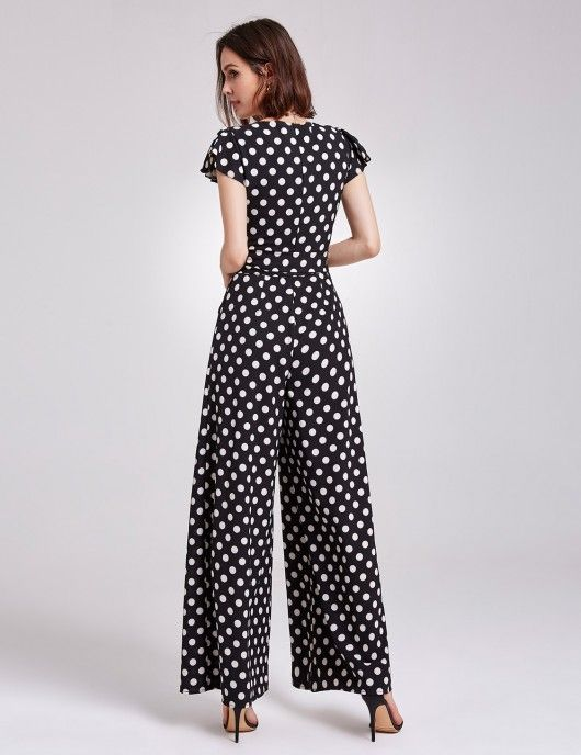 96613e15abe7 Alisa Pan Wide Legged V Neck Polka Dot Jumpsuit  jumpsuit  jumpsuits   everprettycom  fashiosuit