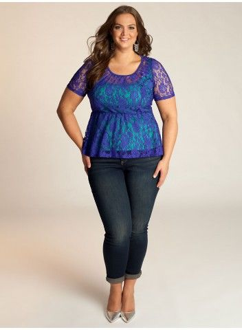 Florence Peplum Plus Size Top in Cobalt Blue - Just In by IGIGI PLEASE WANT IT!