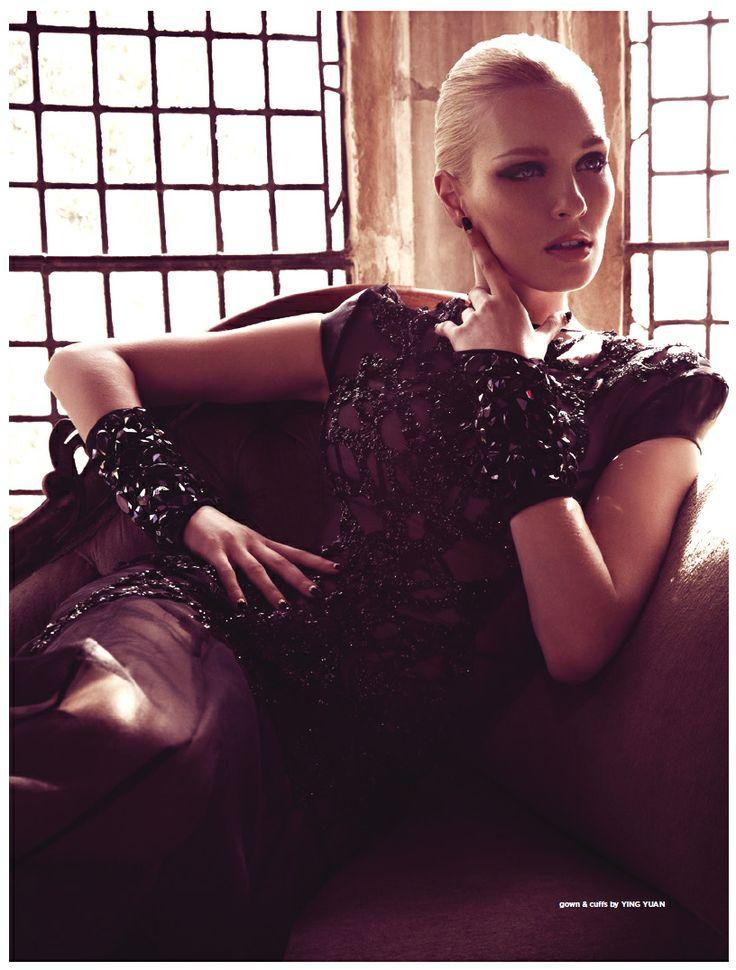 Editorial photo shoot fashiontrend.com.au Renaissance. Eveningwear and beaded cuff accassories designed by Ying Yuan #fashiontrend #yingyuan #eveningwear