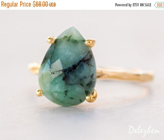 SALE - Green Raw Emerald Ring - May Birthstone Ring - Gemstone Ring - Stacking Ring - Gold Ring - Tear Drop Ring - Prong Set Ring