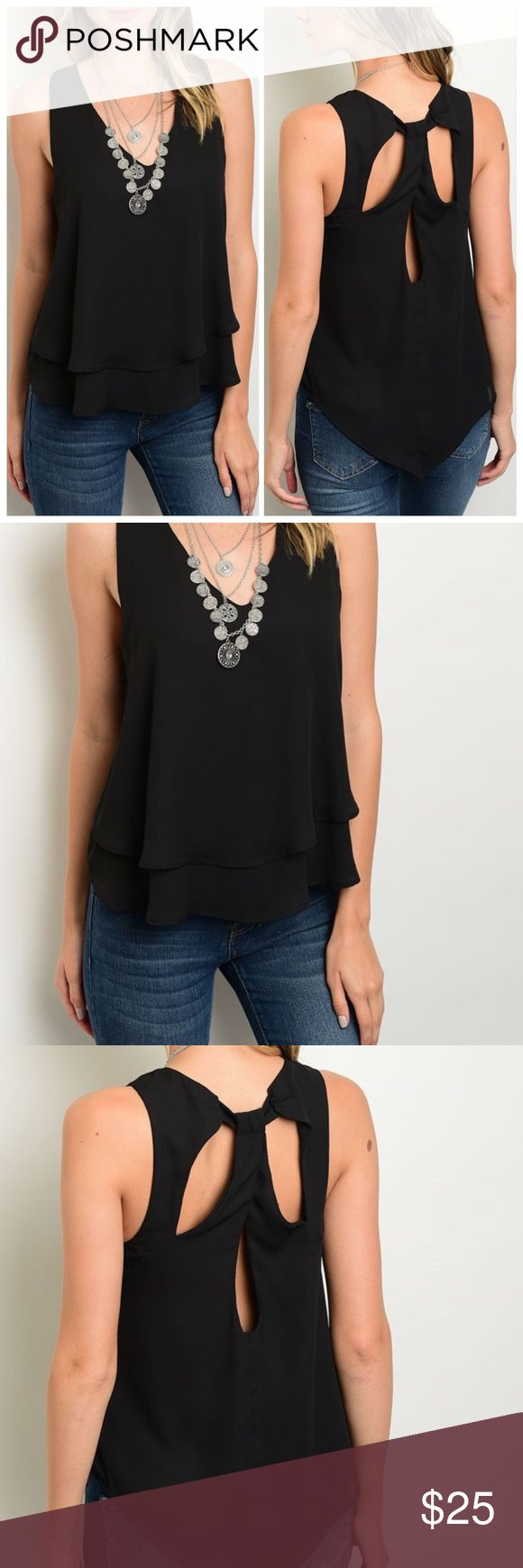 """🚨SALE🚨Black sexy back blouse Classic black sleeveless blouse. Lined, not see through. Sexy back. Made in USA. 100% polyester. Pair with anything!! Length is 26"""". Small: bust 36"""". Relaxed and Flowey fit. New without tags. CupofTea Tops Blouses"""