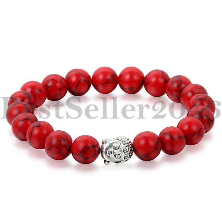 Buddha Armband Armreif Natur Stein Rot Gebet Lava Kugel Damen Herren Perlen
