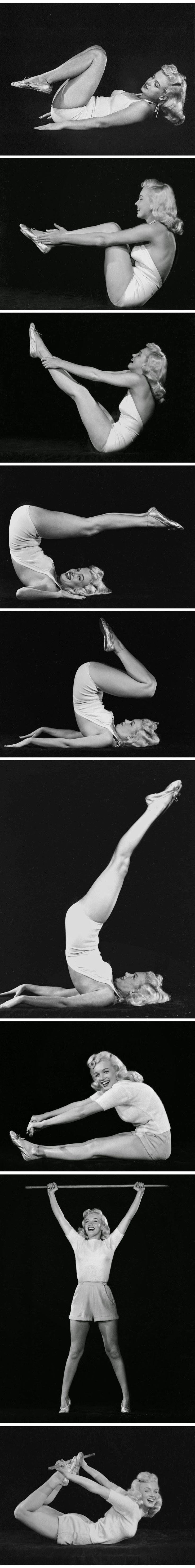 Historical Rare Vintage Photographs of Marilyn Monroe doing Yoga (1948)