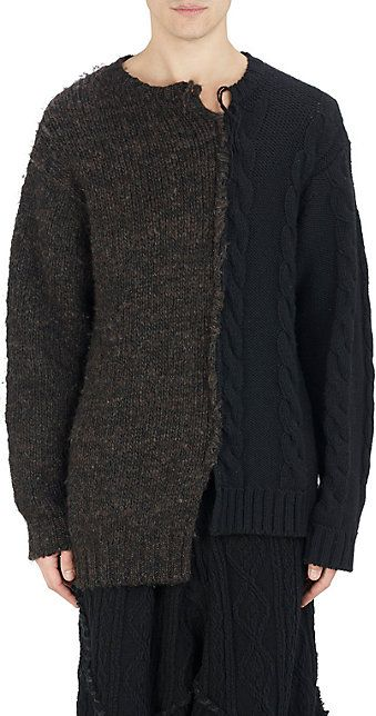 Yohji Yamamoto Pour Homme Mixed Cable-Knit Spliced Sweater -  - Barneys.com