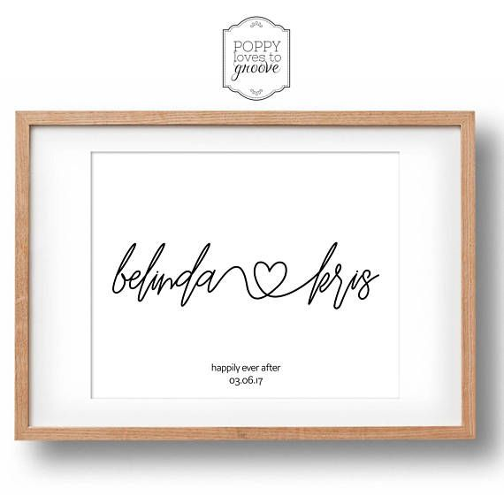 Couple Heart Name Print  Personalised Engagement Gift