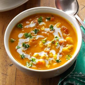 Hearty Butternut Squash Soup Recipe - Italian sausage, onion, red pepper, butternut squash, corn, great northern beans, fire roasted tomatoes, heavy cream