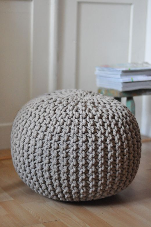 Natural beige hand knitted floor cushion