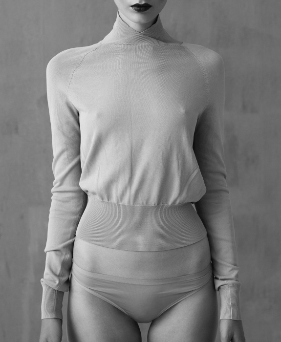 lightweight high-neck fitted sweater + silk underwear  photo: ecoleetienne.se