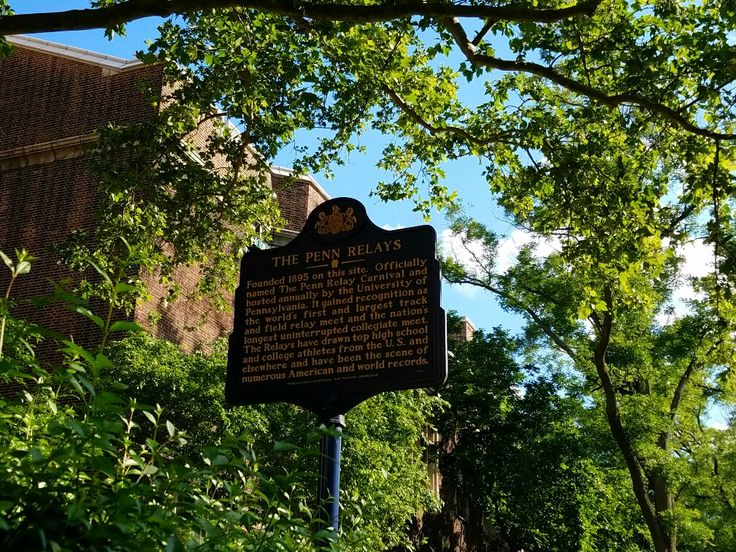 This historical marker details the annual Penn Relays event at Franklin Field on the campus of the University of Pennsylvania in the University City neighborhood of West Philadelphia. The marker is outside of the stadium's west entrance on 33rd Street, just north of South Street.