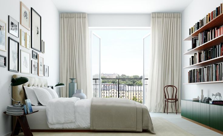 Scandinavian style decor and bedroom interior, curtains, gallery wall