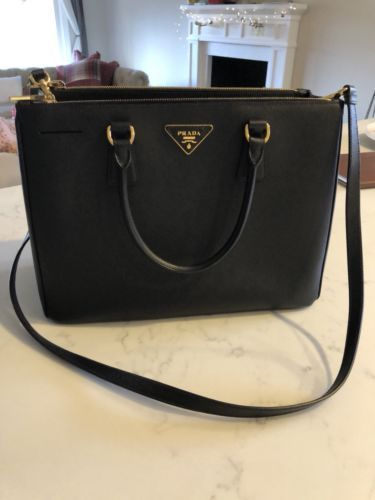 f73ce75f3dcc Prada Saffiano Leather Tote Bag Black Double Zip Perfect Condition  #extralargeleathertotebags