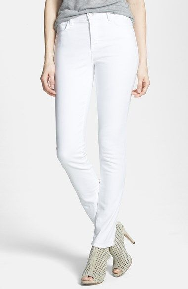 Free shipping and returns on J Brand 'Rail' High Rise Skinny Jeans (Blanc) at Nordstrom.com. Slim jeans with a flattering high waist are cut from white sateen denim and finished with tonal topstitching and plain back pockets for a clean finish.