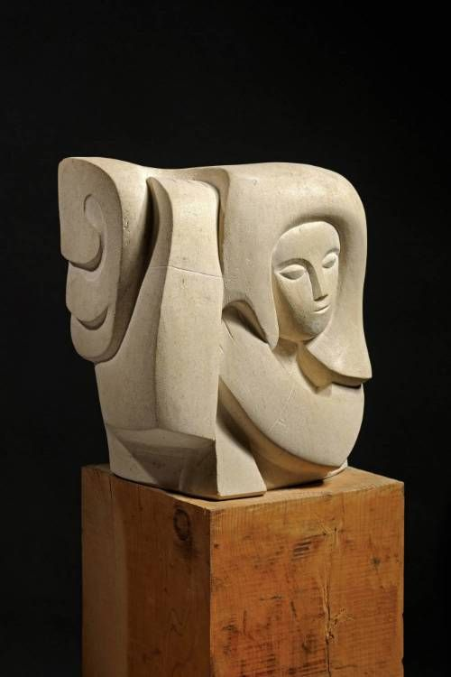 'Woman Pinning Her Hair' George Kennethson, c 1960. Carved from Clipsham stone.
