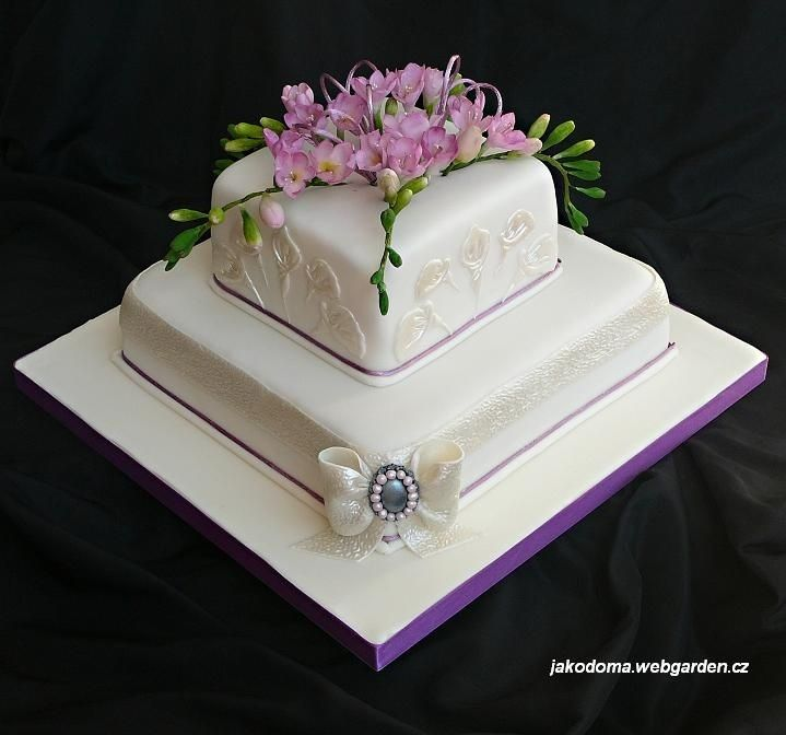 Square Wedding Cakes with live flowers