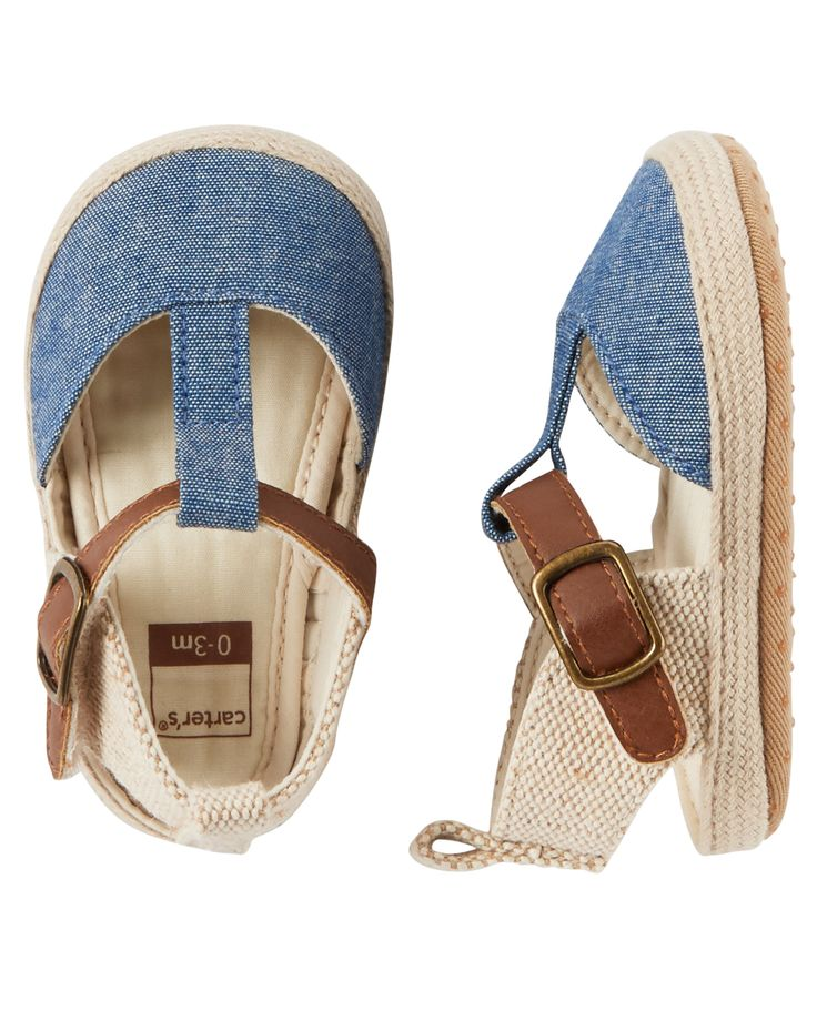 Baby Girl Carter's Chambray Espadrille Crib Shoes | Carters.com