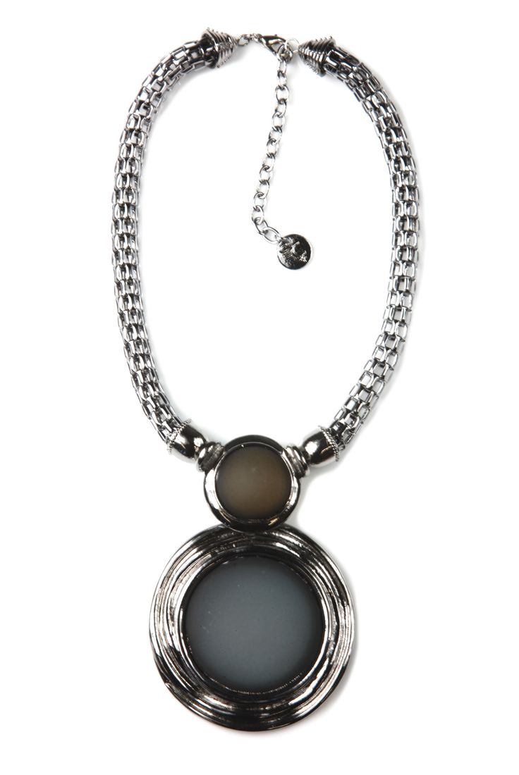 Classique - Dark Blue Silver Large Circular Necklace.  Striking silver necklace features double pendant and dramatic mesh chain. The stormy blue and sand colours are a modern pairing thatadd a dose of sophistication to everything from evening looks to casual wear. http://www.byariane.com.au/Sistaco-Classique