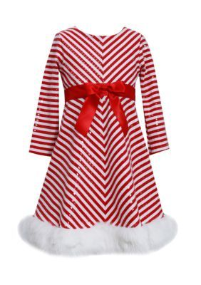Bonnie Jean Long Sleeve Candy Cane Santa Dress Girls Plus 7-16 - Red/White - 16.5 Plus