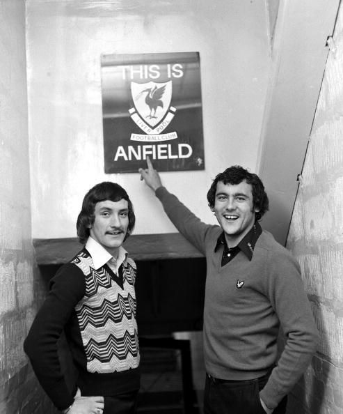 Sport Football Liverpool England November 1974 Liverpool FC's Terry McDermott and Ray Kennedy are pictured next to the 'This is Anfield' sign