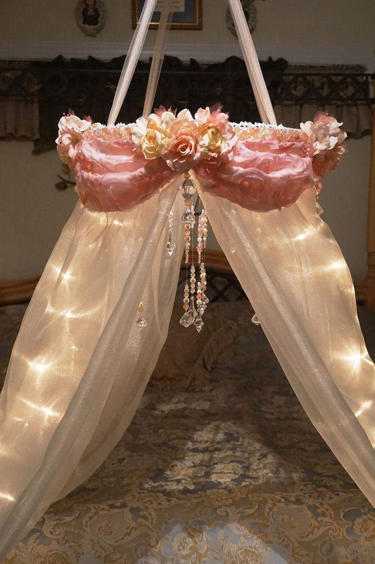 Shabby Chic Canopy-Baby Canopy-Crib Canopy-Bed Canopy-Flower Canopy-Beaded Canopy-Floral Canopy-Lighted Canopy-Reading Nook-Flower Mobile by DesignsByANM on Etsy