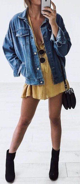 denim jacket + sundress + black details