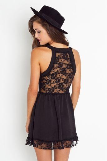 love the lace back: Black Lace, Fashion, Style, Dresses, Lacie Tank, Tank Dress, Lace Back