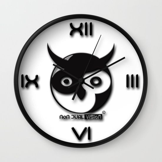 "Available in natural wood, black or white frames, our 10"" diameter unique Wall Clocks feature a high-impact plexiglass crystal face and a backside hook for easy hanging. Choose black or white hands to match your wall clock frame and art design choice. Clock sits 1.75"" deep and requires 1 AA battery (not included).  non dual vision logo Owl clock yin yang non duality advaita vedanta"