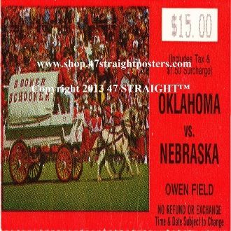 1985 National Champions, OU Sooners, Football Gifts, Father's Day 2013. 1985 OU vs. Nebraska Football Ticket Coasters.™  Ceramic drink coasters printed in the U.S.A. and shipped within 24 hours. Made from over 2,000 historic college football tickets. Best last minute Father's Day gifts.