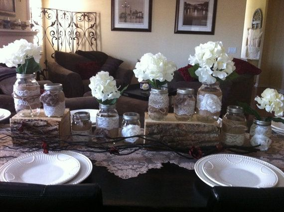Burlap and Lace Jars for Wedding Head Table or Centerpieces: Set of 10 Mason Jars. Rustic Wedding Decor. Woodsy Rustic Wedding via Etsy