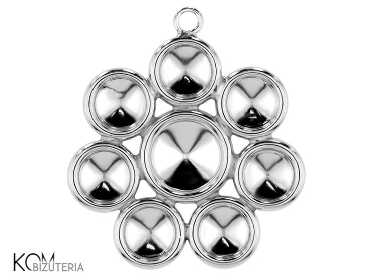 Rhodium-plated silver bail (pendant) rivoli 6mm, 8mm w 102. Silver pendant (bail) ideal for necklaces, bracelets and earrings. Fits Swarovski 6 mm and 8 mm rivoli crystals and other similar stones, gems.