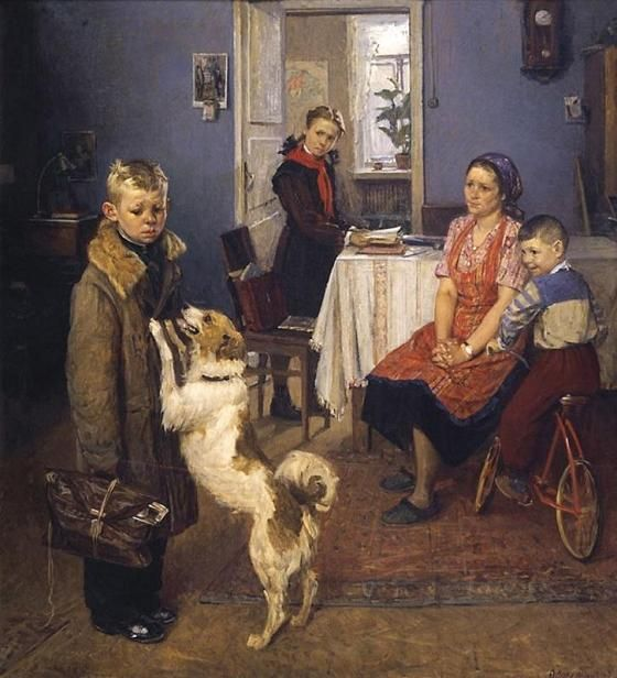 """Low Marks Again!"" 1952. Fyodor Pavlovich Reshetnikov (1906-1988). Soviet painter."