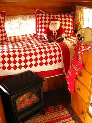 My trailer at Christmastime ~ The Beehive Cottage: Cottages Style, Vintage Trailers, Beehive Cottages, White Quilts, Travel Trailers, Vintage Interiors, Electric Fireplaces, Cozy Christmas, Vintage Campers