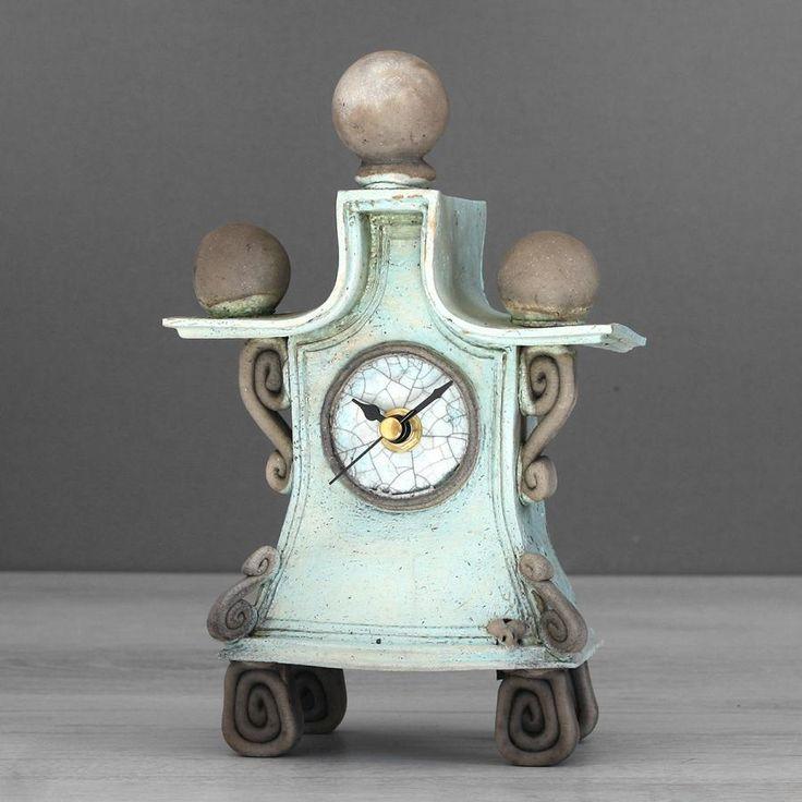 quirky ceramic mantel clock - small - light blue by ian roberts SALB