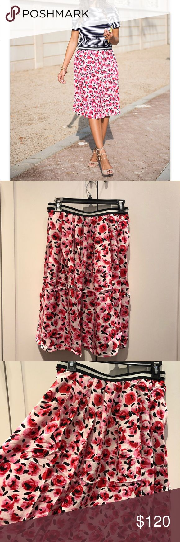 Kate Spade Rose stamp flare skirt Size 6 ( other sizes will be available upon request) elastic band 100% silk. Brand new without tags! kate spade Skirts Midi