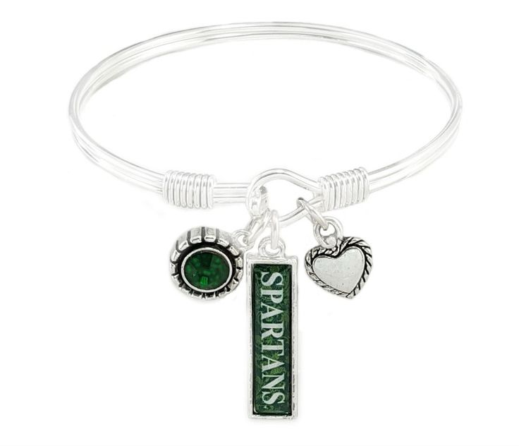 Michigan State University Bangle Bracelet Silver Plated Michigan State Spartans