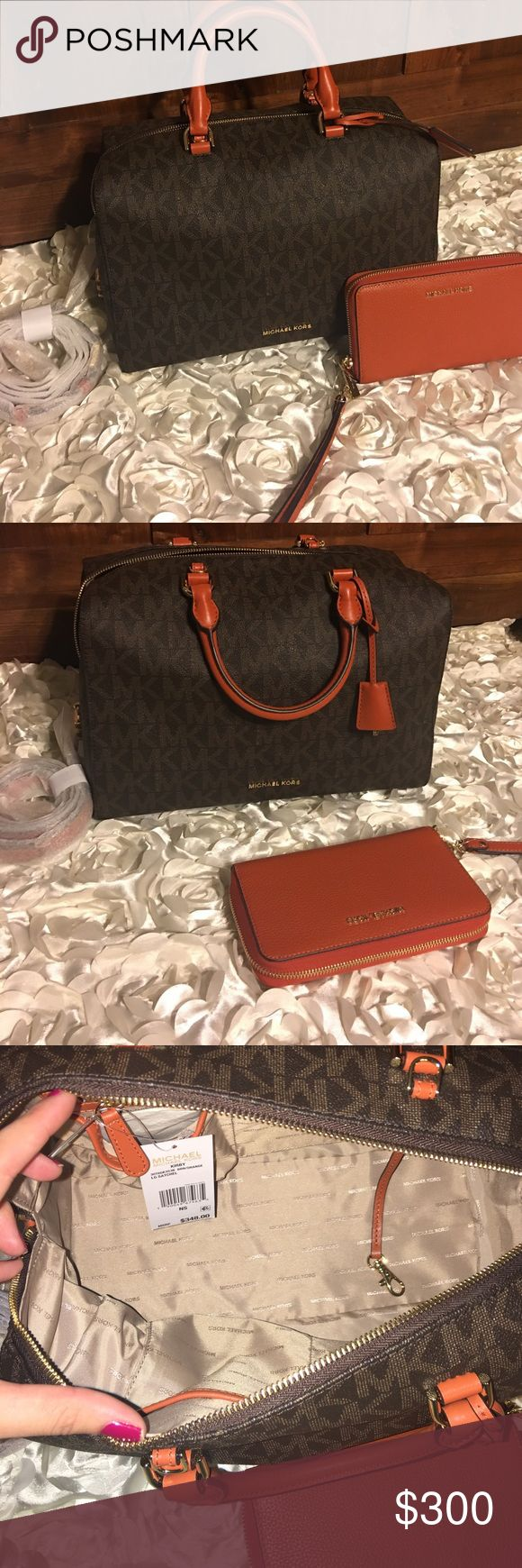 """NWT Michael Kors KIRBY SET THE WHOLE SET IS NWT. Kirby is brown & orange with golden hardware. Wallet is orange with golden hardware. Purse is 12"""" x 10"""" 6"""" D. Wallet is 7"""" x 4"""" with identity protection feature. VERY SELECTIVE TRADES cuz i might end up using this beauty. Michael Kors Bags"""