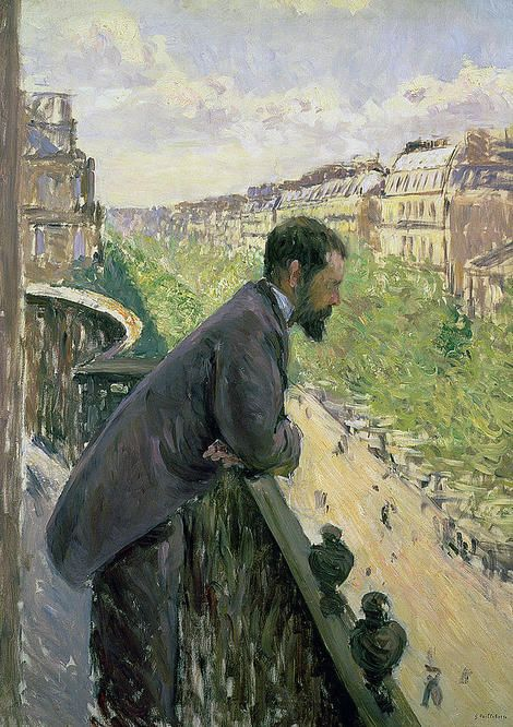 Gustave Caillebotte, Man On A Balcony, 1880 on ArtStack #gustave-caillebotte #art